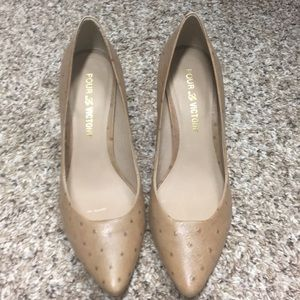 Tan leather wedge heels